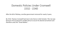 Domestic Policies Under Cromwell