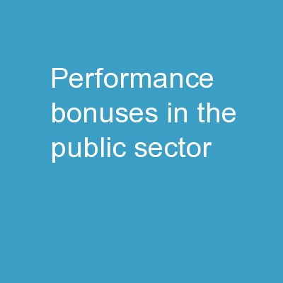 Performance bonuses in the public sector: