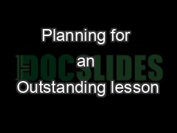 Planning for an Outstanding lesson