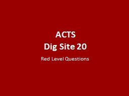 ACTS Dig Site 20 Red Level Questions