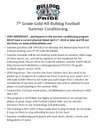 7 th  Grade Gold Hill Bulldog Football