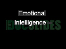 Emotional Intelligence –