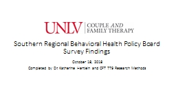 Southern Regional Behavioral Health Policy Board Survey Findings