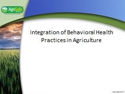 Integration of Behavioral Health Practices in Agriculture