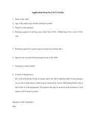 Application form for IACS Crche