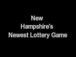 New Hampshire's Newest Lottery Game
