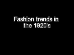 Fashion trends in the 1920's