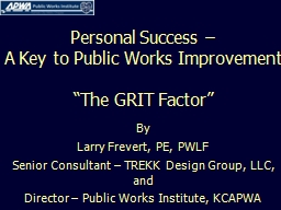 Personal Success � A Key to Public Works Improvement