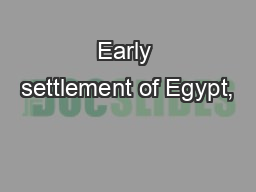 Early settlement of Egypt,
