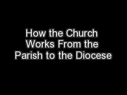 How the Church Works From the Parish to the Diocese
