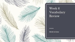 Week 6 Vocabulary Review
