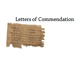 Letters of Commendation Primary Lessons