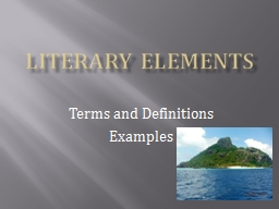 Literary elements Terms and Definitions