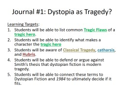 Journal #1: Dystopia as Tragedy?