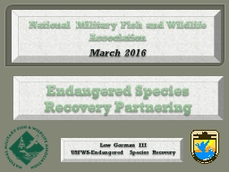 Endangered Species Recovery Partnering PowerPoint PPT Presentation