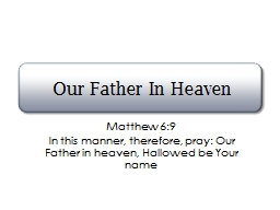 Our Father In Heaven Matthew 6:9
