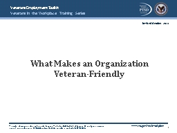 What Makes an Organization Veteran-Friendly