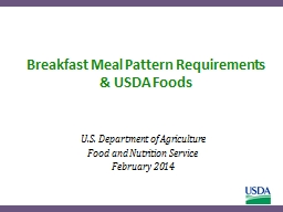 Breakfast Meal  Pattern Requirements