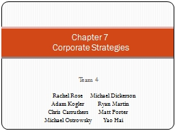 Team 4 Chapter 7  Corporate Strategies