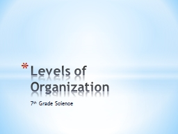 7 th  Grade Science Levels of Organization