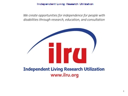 Independent Living Research Utilization