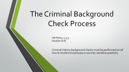 The Criminal Background Check Process