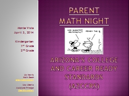 Parent  Math night Arizona�s college and career ready standards