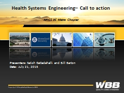 Health Systems Engineering– Call to action
