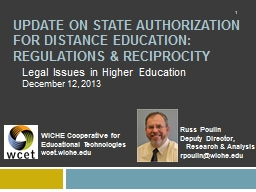 Update ON STATE AUTHORIZATION for DISTANCE EDUCATION:
