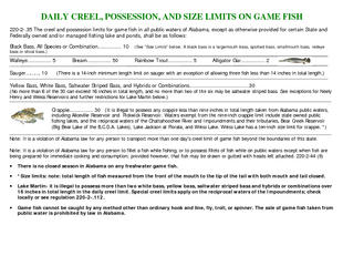 DAILY CREEL POSSESSION AND SIZE LIMITS ON GAME FISH