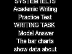 INTERNATIONAL ENGLISH LA NGUAGE TESTING SYSTEM IELTS Academic Writing Practice Test WRITING TASK   Model Answer The bar charts show data about computer owner ship with a further classification by lev