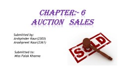 cHApter :- 6 AUCTION   SALES