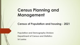 Census Planning and Management