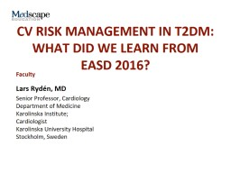 CV Risk Management in T2DM: What Did We Learn From  EASD 2016?