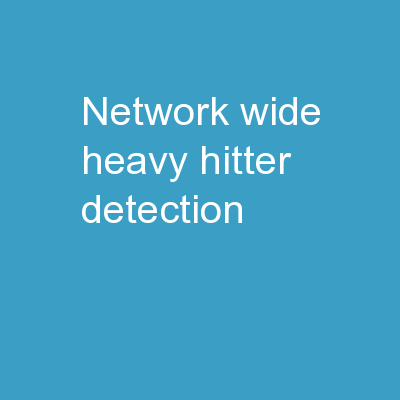 Network-Wide Heavy-Hitter Detection