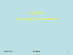 March 2015 Roy Boyer 1 HISTORY: PowerPoint PPT Presentation