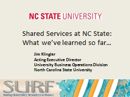 Shared Services at NC State: