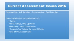 Current  Assessment  Issues 2016