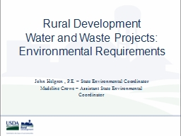 Rural Development  Water and Waste Projects: