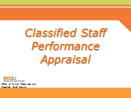 Classified Staff  Performance Appraisal