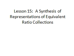 Lesson 15:  A Synthesis of Representations of Equivalent Ratio Collections