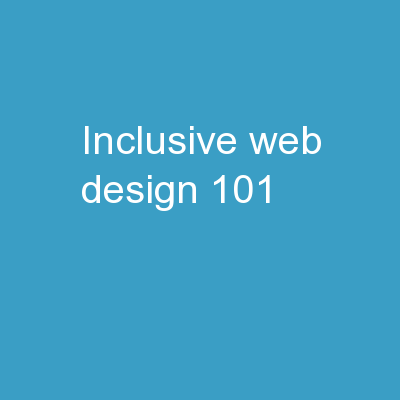 Inclusive Web Design 101: