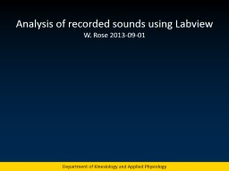 Analysis of recorded sounds using PowerPoint PPT Presentation