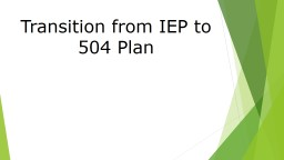 Transition from IEP to  504 Plan