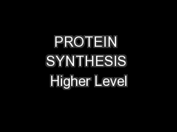PROTEIN SYNTHESIS Higher Level