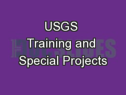 USGS Training and Special Projects