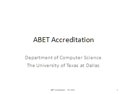 ABET Accreditation Department of Computer Science