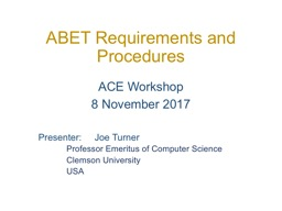 ABET Requirements and Procedures