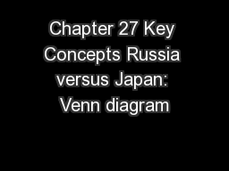 Chapter 27 Key Concepts Russia versus Japan: Venn diagram