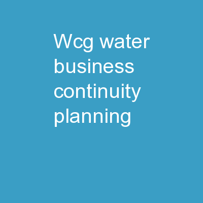 WCG  WATER BUSINESS CONTINUITY PLANNING